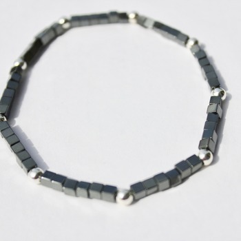 Hematite and White Glass Pearl Accent Bracelet