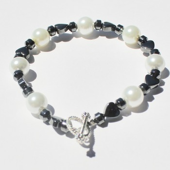 Hematite Heart and White Glass Pearl Bracelet