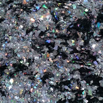 Holographic Dark Gray Black Cellophane Glitter Flakes Bag Glitter Flakes Cellophane Flakes Iridescent Flakes Nail Mylar Flakes