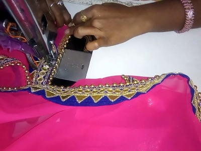 HOW TO ATTACH MOTI LACE ON DUPATTA AND SAREE.DESIGNER DUPATTA MAKING WITH WORK LACE