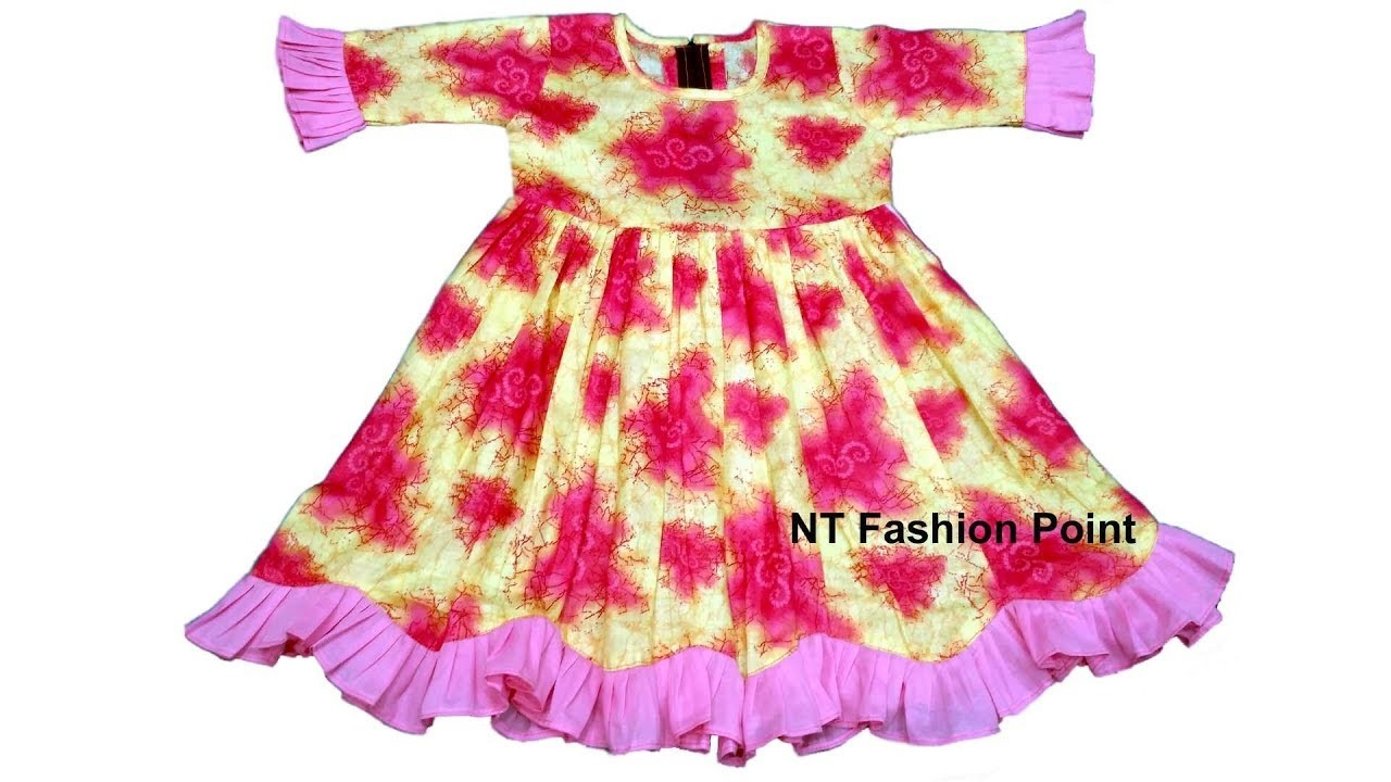 How to cutting & sewing long sleeve of baby girls lovely kids dress