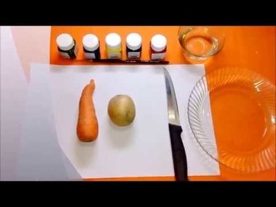 How to do vegetable printing with potato and carrot by fabric paint