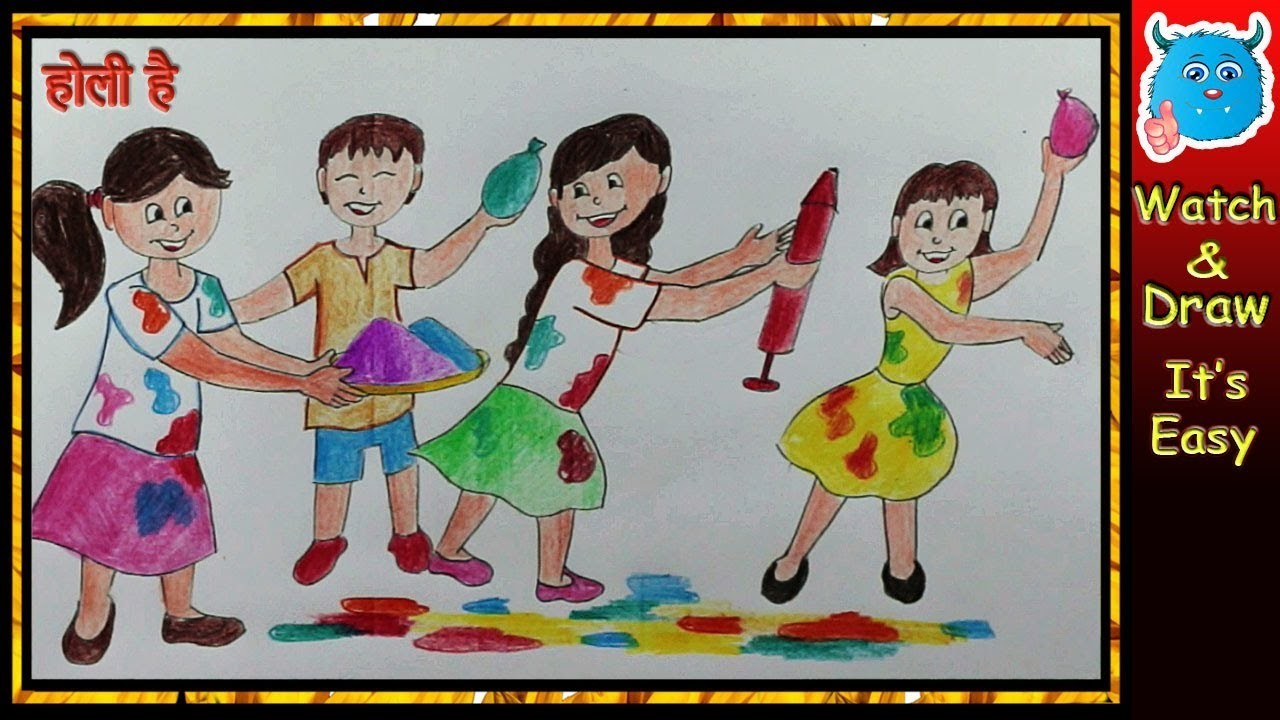 How To Draw A Holi Play Scene Easy Art For Kids