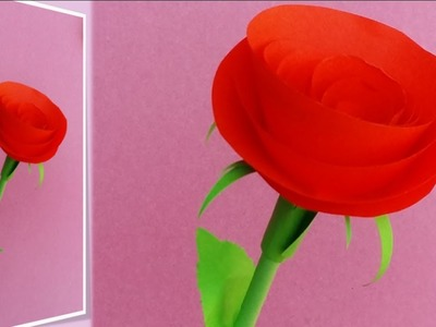 How to make a beautiful rose with stem and leaves using paper
