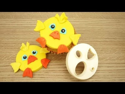 How to Make An Easter Chick Cupcake Topper Using The FMM Mix 'n' Match Face Cutter