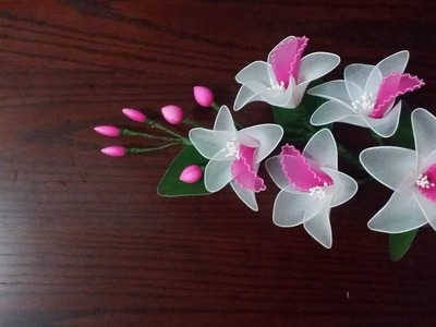 How to make Beautiful Orchid Flower with nylon stockings.