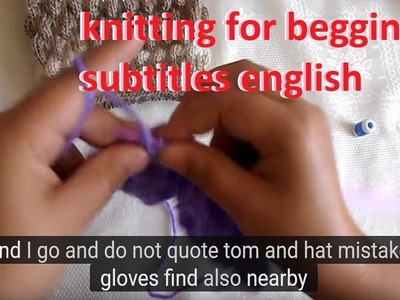 How to make knitting point puff - knit for beginners subtitles english
