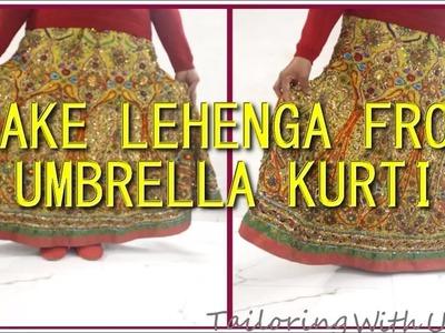 How To Make Lehenga From Umbrella Kurti | DIY - Tailoring With Usha