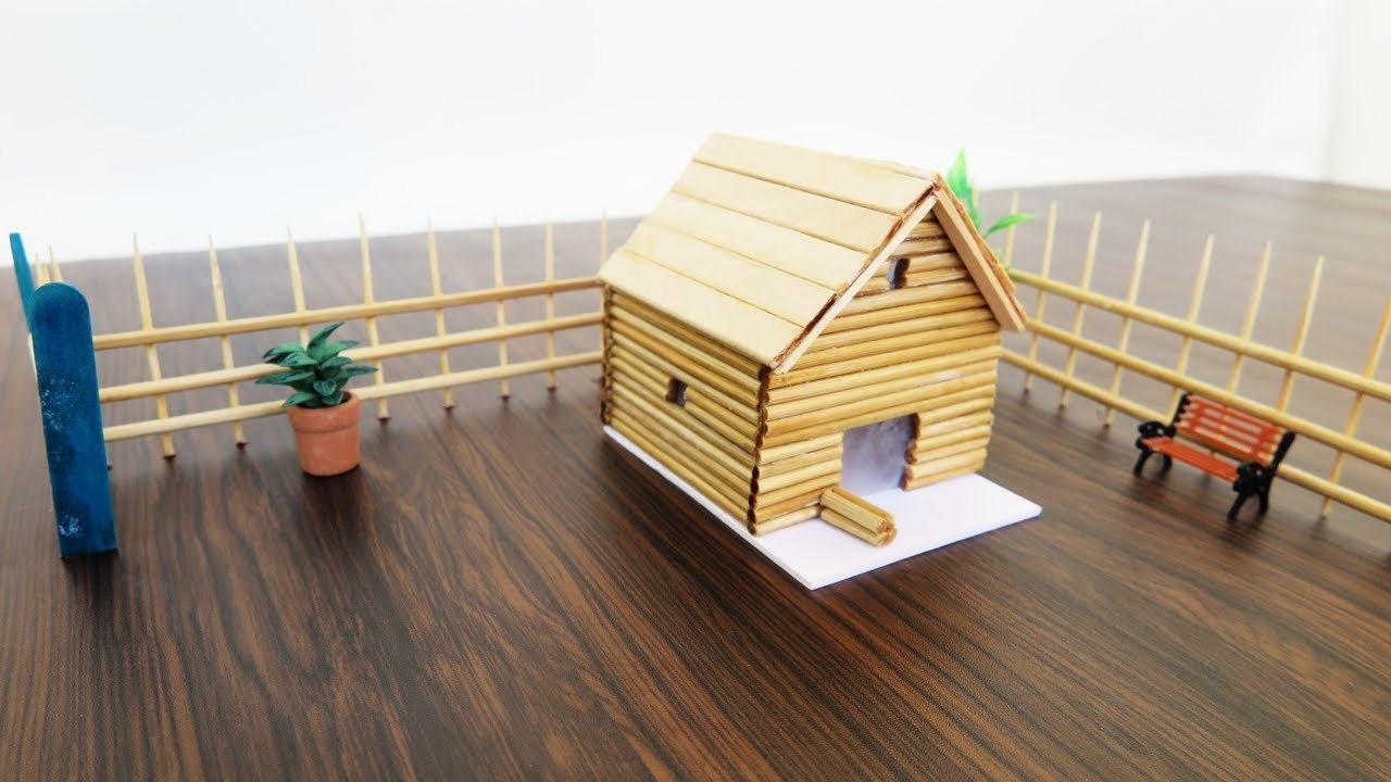 How To Make Simple  Bamboo Stick House   - Crafts For Kids