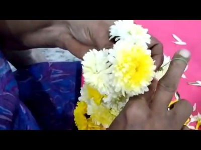 How to tie samanthi  flowers for puja using Traditional method  for the beginners