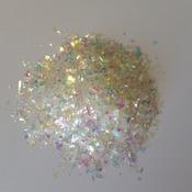 Iridescent Cellophane Glitter Flakes White Bag Mylar Flakes Yellow White 22
