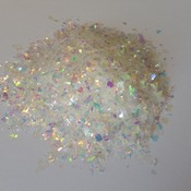 Iridescent Cellophane Glitter Flakes White Bag Mylar Flakes Yellow White 22