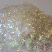 Iridescent Cellophane Glitter Flakes White Bag Mylar Flakes Pink White 03