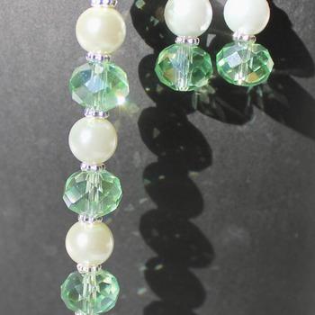 Iridescent Green Czech Bead Bracelet and Earrings Set