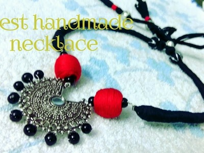 Latest designer handmade necklace    cotton thread diy    periwinkle TV
