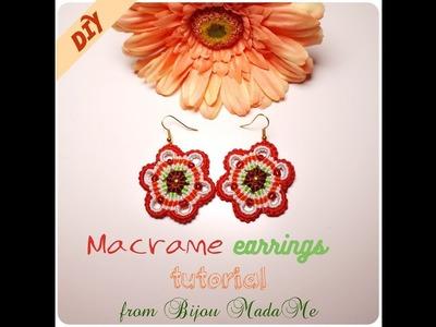 Macrame earrings tutorial. DIY macrame jewelry. How to make colorful macrame earrings.