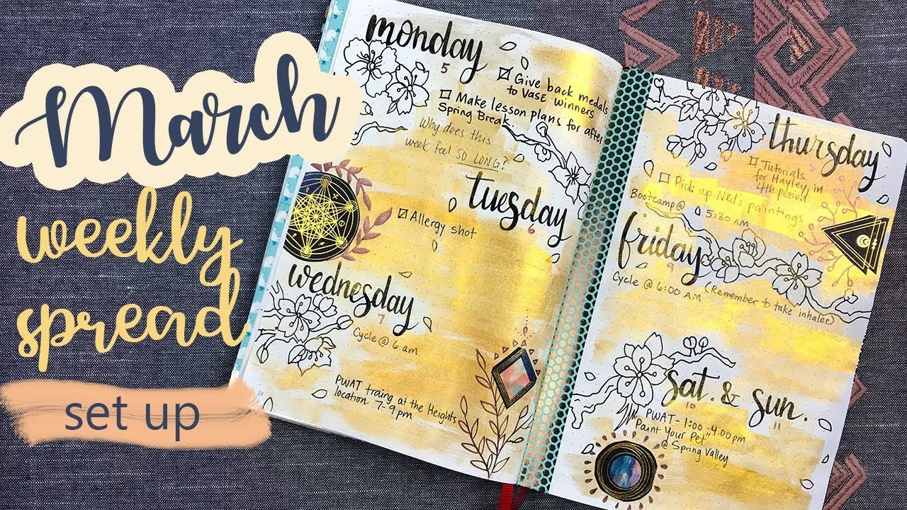 MARCH WEEKLY SPREAD | PLAN WITH ME | How to set up this spread!