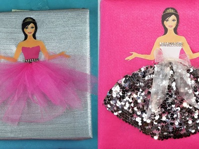 Miniature Prom Dress Wall Decor - DIY How to make Barbie Canvas Wall Art - Canvas Barbie Art