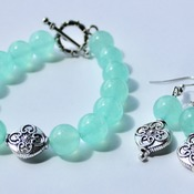 Mint Green Bead Bracelet with Accent Bead Bracelet and Earrings Set