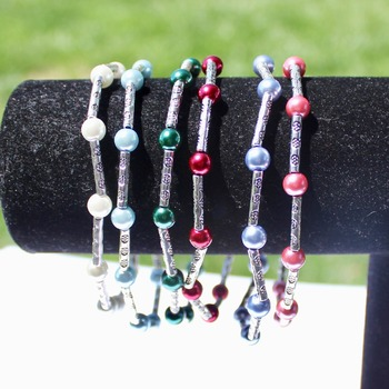 Multi Color Glass Pearl Accent Bracelets