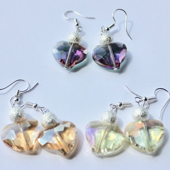Multi Color Iridescent Heart and Glitter Bead Earrings