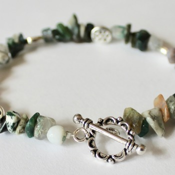 Multi-Green Stone and Flower Bead Bracelet