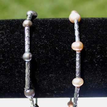 Pink or Gray Freshwater Pearl Accent Bracelets