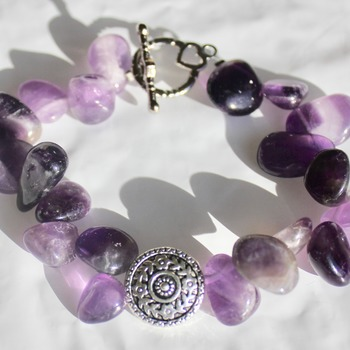 Purple Stone Bracelet with Round Accent Bead