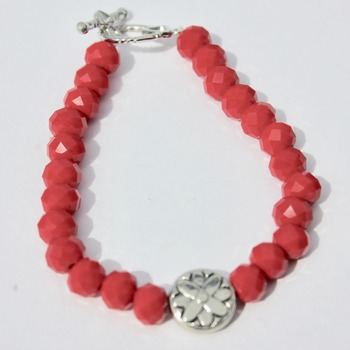 Red Glitter Bracelet with Round Accent Bead