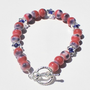 Red, White and Blue Bracelet with Star Accent Beads