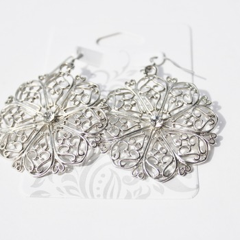 Round Stainless Steel Earrings with a Crystal Accent
