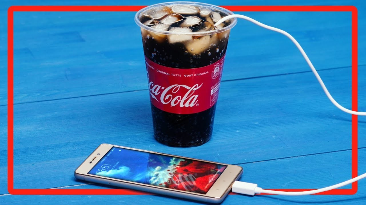 School pranks. How to charge a mobile phone using Coca-Cola.  Tips and Tricks