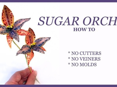 SUGAR ORCHID How To: NO CUTTERS, NO VEINERS, NO MOLDS - Queen of Sheba Sugar Flower Tutorial