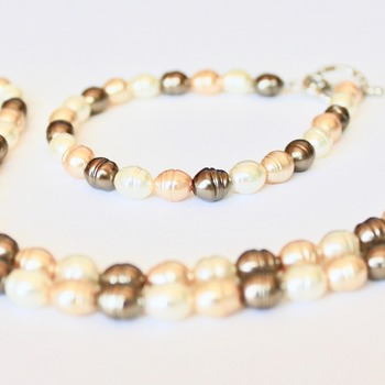 Multi-Colored Freshwater Pearl Necklace and Bracelet Set