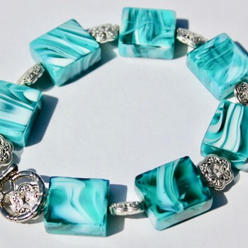 Turquoise and White Bracelet with Flower Accent Beads