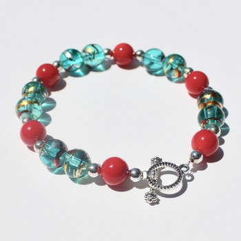 Turquoise Marbled Bracelet with Red Accent Beads