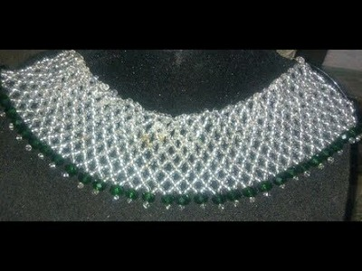Tutorial on how to make this beaded silver and green necklaces
