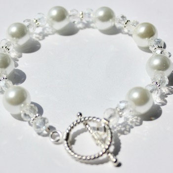 White Glass Pearl and Clear Iridescent Czech Bead Bracelet