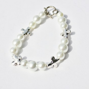 White Glass Pearl and Cross Bead Bracelet