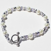 White Glass Pearl and Small Purple Czech Bead Bracelet