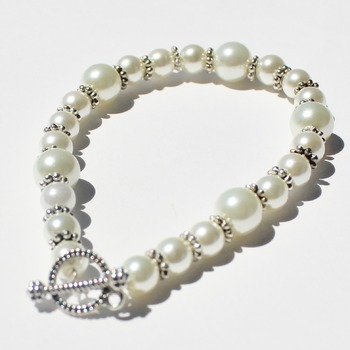 White Glass Pearl Bracelet with Spacer Beads
