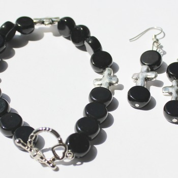 Black Bead and Silver Cross Bracelet and Earrings Set