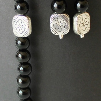 Black Round Bead with Square Accent Bracelet and Earrings Set