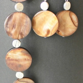 Brown and Silver Disc Bracelet and Earrings Set