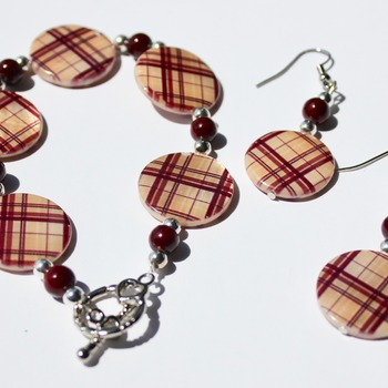 Brown Plaid with Burgundy Accent Beads Bracelet and Earrings Set