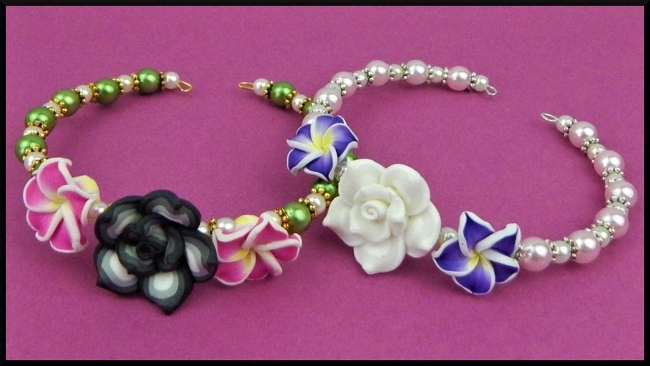 DIY, Draht Armband mit Blumenperlen, Memory wire bracelet with ...
