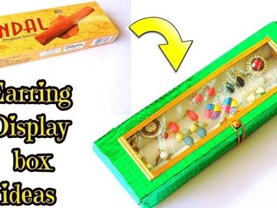 DIY Earring Display Box from Incense stick box || Best idea with Agarbatti Box || DIY organizer ||
