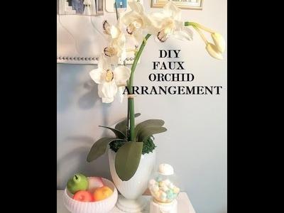 DIY FAUX ORCHID ARRANGEMENT.HOME DECOR IDEAS