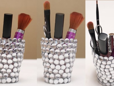 DIY Glass Bottle Crafts - Turn The Broken Glass Into A Beautiful Make Up Stuff Holder