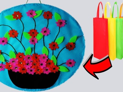 DIY Old Shopping Bag Flowers Wall Hanging || Fabric Tote Bag Wall Decor at Home